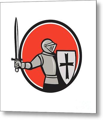 Knight Wielding Sword Circle Cartoon Metal Print by Aloysius Patrimonio