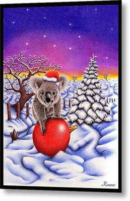 Koala On Ball Metal Print by Remrov