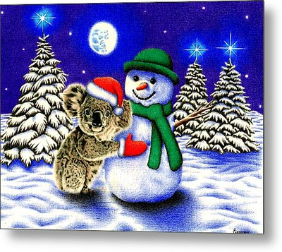 Koala With Snowman Metal Print by Remrov