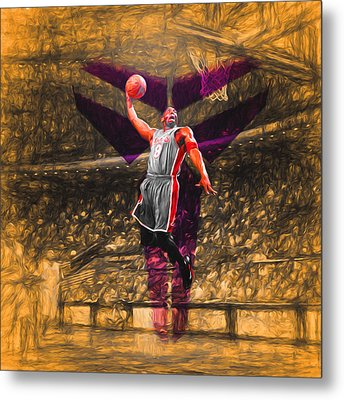Kobe Bryant Black Mamba Digital Painting Metal Print by David Haskett