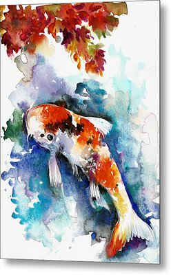 Koi Fish In The Lake Metal Print by Tiberiu Soos