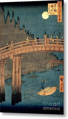 Kyoto Bridge By Moonlight Metal Print by Hiroshige