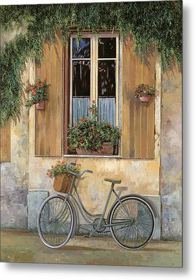 La Bici Metal Print by Guido Borelli