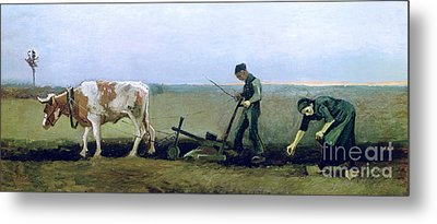 Labourer And Peasant  Metal Print by Vincent van Gogh