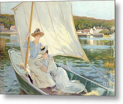 Ladies In A Sailing Boat  Metal Print by Jules Cayron