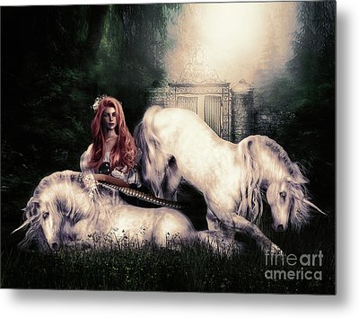 Lady And The Unicorns Metal Print by Shanina Conway
