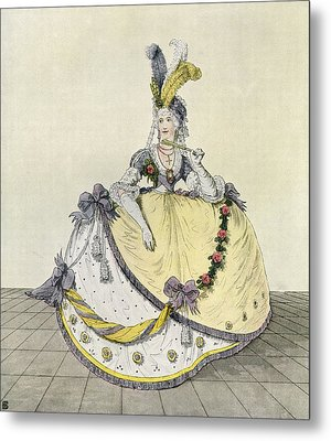 Lady In A Ball Gown At The English Metal Print by Vintage Design Pics