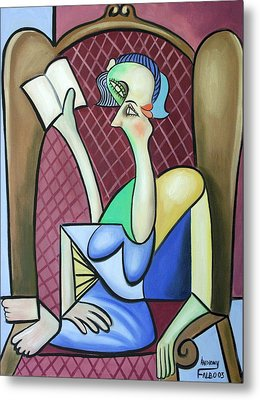 Lady In A Winged Back Chair Metal Print by Anthony Falbo