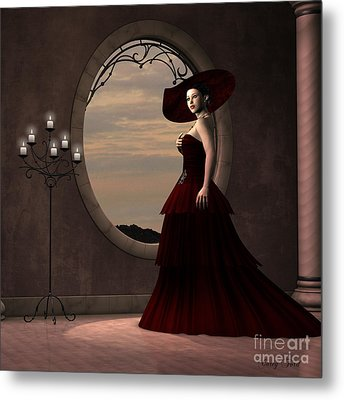 Lady In Red Dress Metal Print by Corey Ford