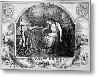 Lady Liberty Mourns During The Civil War Metal Print by War Is Hell Store