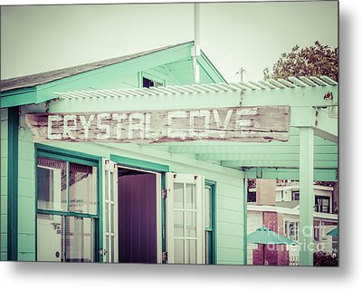 Laguna Beach Crystal Cove Sign Picture Metal Print by Paul Velgos