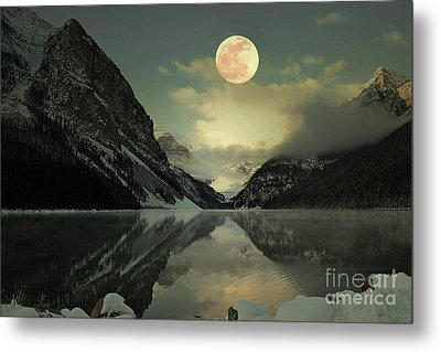 Lake Louise Moon Glow Metal Print by Andrea Hazel Ihlefeld