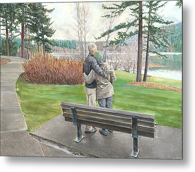 Lake Padden-memorial Bench Of Reg Bratz Metal Print by Nick Payne