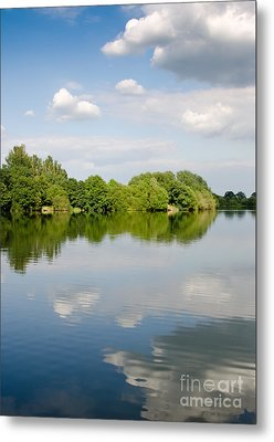 Lake Reflection Dinton Pastures Lakes And Nature Reserve Reading Berkshire Uk Metal Print by Andy Smy