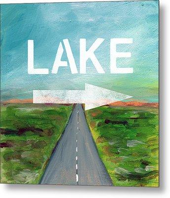 Lake Road- Art By Linda Woods Metal Print by Linda Woods