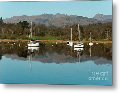 Lake Windermere Yachts Metal Print by John D Hare