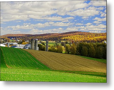 Lancaster County Amish Farm  Metal Print by William Jobes