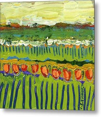 Landscape In Green And Orange Metal Print by Jennifer Lommers