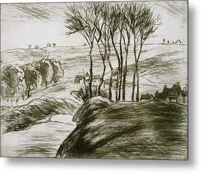 Landscape Near Osny  Metal Print by Camille Pissarro