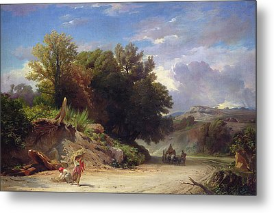 Landscape On The Outskirts Of Rome Metal Print by Jean Achille Benouville