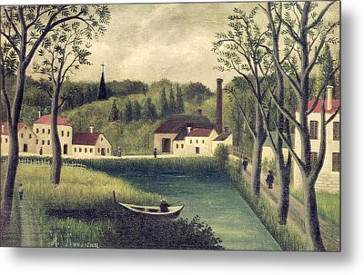 Landscape With A Fisherman Metal Print by Henri Rousseau