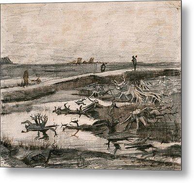 Landscape With Bog Trunks  Metal Print by Vincent van Gogh