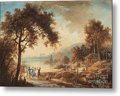 Landscape With Dancing Figures Metal Print by Celestial Images
