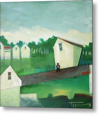 Landscape With Man On Lath Metal Print by Tim Nyberg