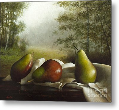 Landscape With Pears Metal Print by Larry Preston