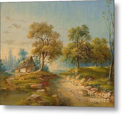 Landscape With Pond Metal Print by MotionAge Designs