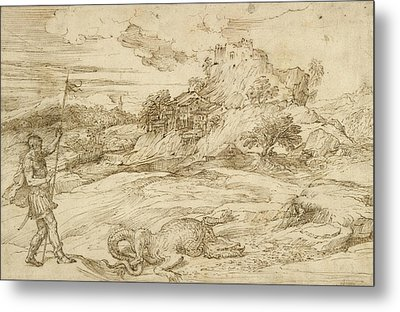 Landscape With St. Theodore Overcoming The Dragon Metal Print by Titian