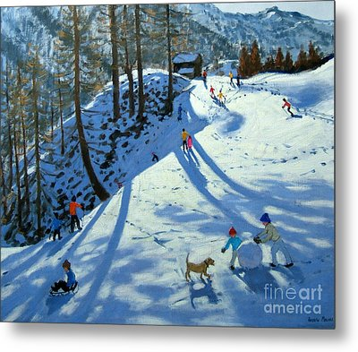 Large Snowball Zermatt Metal Print by Andrew Macara