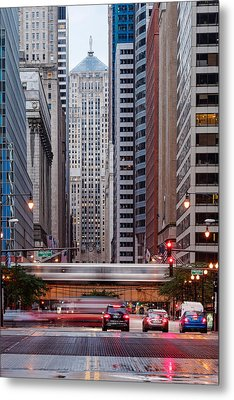 Lasalle Street Canyon With Chicago Board Of Trade Building At The South Side II - Chicago Illinois Metal Print by Silvio Ligutti
