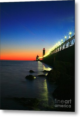 Last Light Grand Haven Michigan Metal Print by Robert Pearson