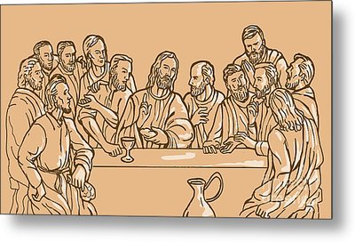 last supper of Jesus Christ Metal Print by Aloysius Patrimonio