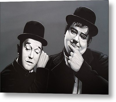 Laurel And Hardy Metal Print by Paul Meijering
