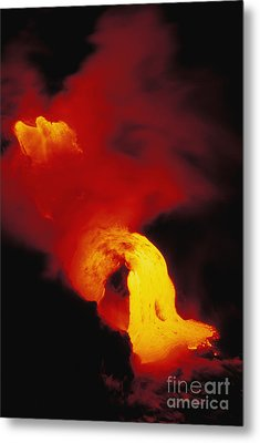 Lava Into The Sea Metal Print by Allan Seiden - Printscapes