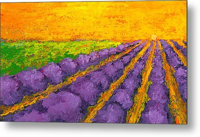 Lavender Field A Modern Impressionistic Artwork In Palette Knife Metal Print by Patricia Awapara