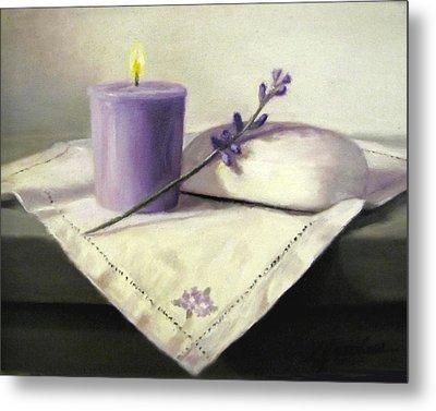 Lavender Sprig Metal Print by Linda Jacobus