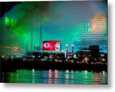 Laser Green Smoke And Reds Stadium Metal Print by Randall Branham
