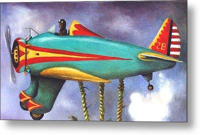 Lazy Bird Plane Detail Metal Print by Leah Saulnier The Painting Maniac