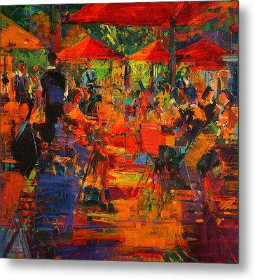 Le Grand Cafe Metal Print by Peter Graham