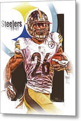 Le Veon Bell Pittsburgh Steelers Oil Art Metal Print by Joe Hamilton