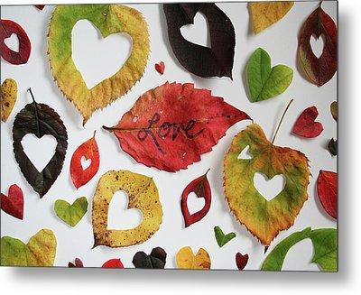 Leaf Heart - Love Metal Print by Lee Graham