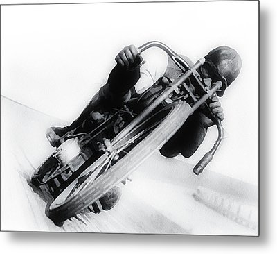 Leaning Hard Metal Print by Simon Wolter