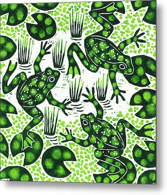 Leaping Frogs Metal Print by Nat Morley