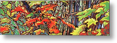 Leaves Long Metal Print by Nadi Spencer