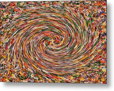 Leaves Playing Roulette Metal Print by Nick David