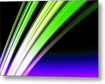 Leaving Saturn In Cobalt And Lime Metal Print by Pet Serrano