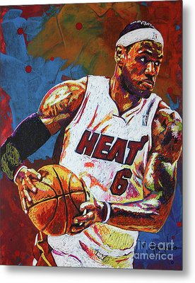 Lebron James 3 Metal Print by Maria Arango